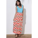 Stylish Scoop Neck Sleeveless Wave Striped Women's Sundress deal