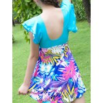 Sweet Short Sleeves Flouncing Floral Pattern Bowknot Swimsuit For Women deal
