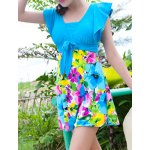 cheap Sweet Short Sleeves Flouncing Floral Pattern Bowknot Swimsuit For Women