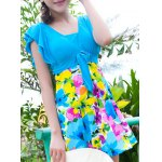 Sweet Short Sleeves Flouncing Floral Pattern Bowknot Swimsuit For Women