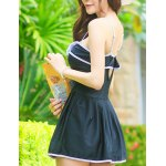 cheap Alluring Spaghetti Strap Bowknot Color Block Hollow Out Dress Swimwear For Women