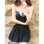 Alluring Spaghetti Strap Bowknot Color Block Hollow Out Dress Swimwear For Women