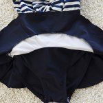 best Cute Striped Bowknot Embellished Girl's One-Piece Swimwear