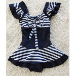 Cute Striped Bowknot Embellished Girl's One-Piece Swimwear