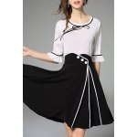 Bell Bottom Sleeve Blouse and Slit Skirt Twinset deal