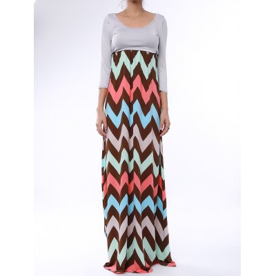 Scoop Collar 3/4 Sleeve Zig Zag Maxi Dress