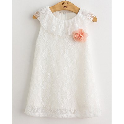Round Neck Flower Spliced Flounced Girl's Lace Dress