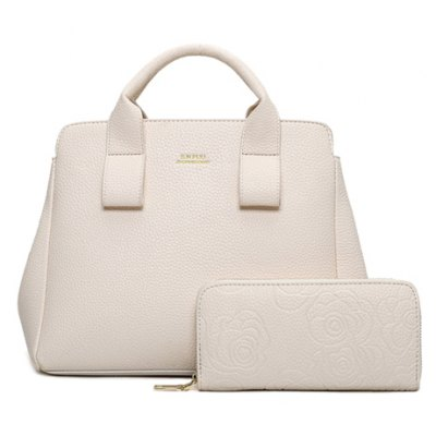 Concise Embossing and Solid Color Design Tote Bag For Women