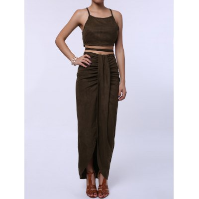 Sexy Spaghetti Strap Tank Top + High-Waisted Asymmetrical Skirt Women's Twinset