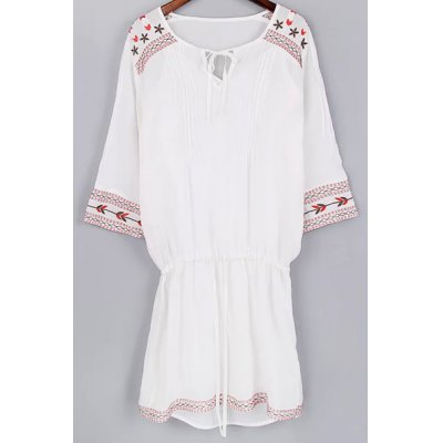 Cami Tank Top and 3/4 Sleeve Drawstring Embroidery Dress Twinset