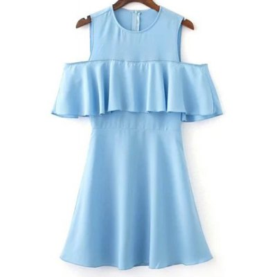 Jewel Neck Cold Shoulder Ruffles Spliced Dress