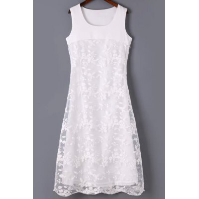 Round Neck Sleeveless Organza Spliced Embroidery Dress