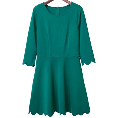 Round Neck 3/4 Sleeve Solid Color Dress