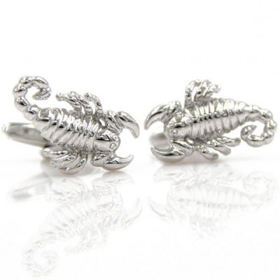Pair of Stylish Silver Scorpion Shape Cufflinks For Men