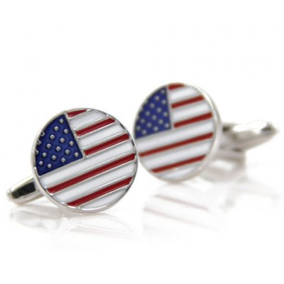 Pair of Stylish Small Dot and Stripe Cameo Round Shape Cufflinks For Men