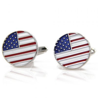 Small Dot and Stripe Cameo Round Shape Cufflinks For Men