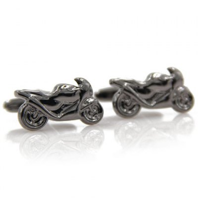 Pair of Stylish Black Scrambling Motorcycle Shape Cufflinks For Men