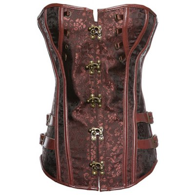 Strapless Button Design Lace-Up Spliced Women's Corset