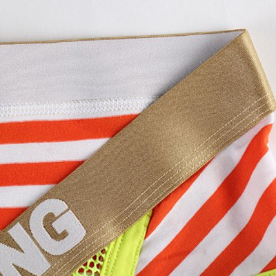 Golden Letter Print Mesh Splicing Stripe U Pouch Design Band Briefs For Men