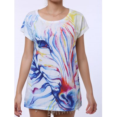 Casual Scoop Neck Watercolor Print Short Sleeve T-Shirt For Women
