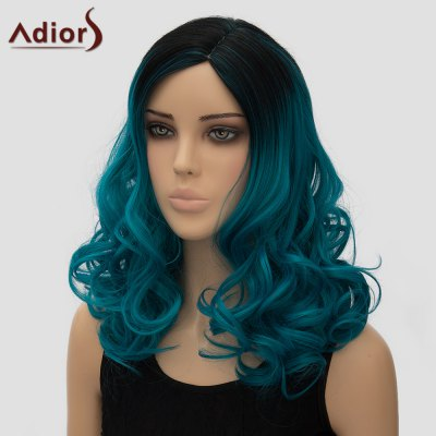 Adiors Fashion Black Ombre Peacock Blue Side Parting Fluffy Wave Long Synthetic Wig For Women