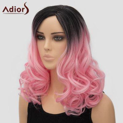 Adiors Fashion Long Side Parting Fluffy Wave Black Pink Ombre Synthetic Wig For Women