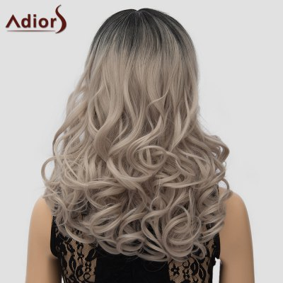Adiors Attractive Long Black Ombre Ash Blonde Shaggy Wave Side Parting Wig For Women