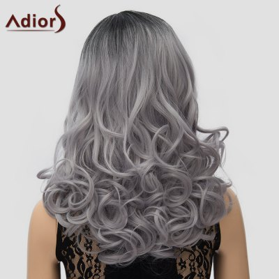 Adiors Stylish Long Black Ombre Gray Synthetic Fluffy Wave Side Parting Wig For Women