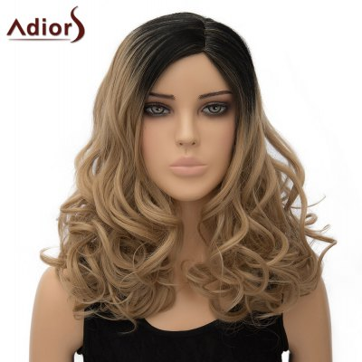 Adiors Vogue Long Black Ombre Brown Synthetic Fluffy Wave Side Parting Wig For Women