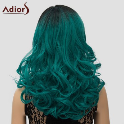 Adiors Fashion Black Green Gradient Long Synthetic Shaggy Wave Side Parting Wig For Women