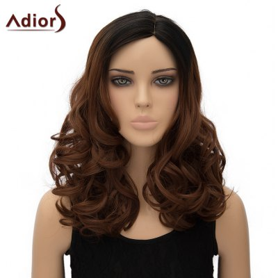 Shaggy Black Ombre Dark Brown Wave Vogue Long Side Parting Synthetic Adiors Wig For Women