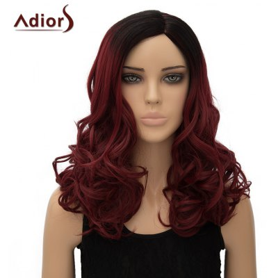 Long Fluffy Wave Side Parting Synthetic Adiors Wig