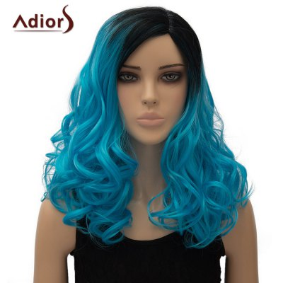 Vogue Long Black Azure Gradient Shaggy Wave Side Parting Synthetic Adiors Wig For Women