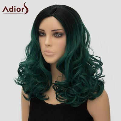 gorgeous-black-ombre-deep-green-long-shaggy-wave-synthetic-universal-adiors-wig-for-women