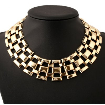 Solid Color Heavy Metal Hollow Out Necklace For Women