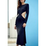 Trendy Round Collar Long Sleeve Backless Side Slit Maxi Dress For Women