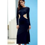 cheap Trendy Round Collar Long Sleeve Backless Side Slit Maxi Dress For Women