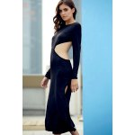 Trendy Round Collar Long Sleeve Backless Side Slit Maxi Dress For Women deal