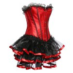 cheap Strapless Spliced Lace-Up Gothic Corset Dress