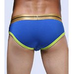 cheap Golden Letter Print Linellae Buttons Embellished U Pouch Design Band Briefs For Men