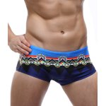 Color Block Spliced Geometric Print Swimming Trunks For Men