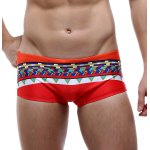 Color Block Splicing Design Geometric Print Swimming Trunks For Men