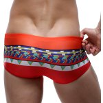 Color Block Splicing Design Geometric Print Swimming Trunks For Men deal