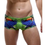 Parrot and Letter Print Color Block Swimming Trunks For Men