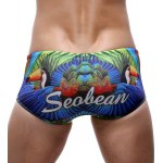 Parrot and Letter Print Color Block Swimming Trunks For Men deal