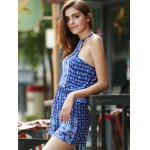 best Sexy Round Collar Sleeveless Printed Hollow Out Women's Romper