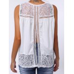 Stylish Round Collar Lace Spliced Chiffon Tank Top For Women photo