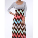 Bohemian Scoop Collar 3/4 Sleeve Zig Zag Women's Maxi Dress deal