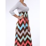best Bohemian Scoop Collar 3/4 Sleeve Zig Zag Women's Maxi Dress