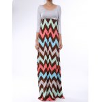 Bohemian Scoop Collar 3/4 Sleeve Zig Zag Women's Maxi Dress
